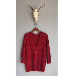 Vintage Red Chunky Knit Oversized Cardigan